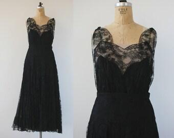 vintage 1930s dress / 30s lace dress / 30s black gown / 20s dress / art deco lace dress / jazz age dress / deco black gown / medium large