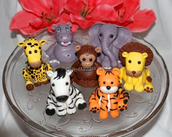 Fondant Jungle Animal Cake Topper - Fondant Safari Animals - Fondant Tiger - Fondant Giraffe - 1st Birthday - Birthday - Baby Shower - Baby