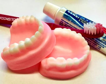 Denture Soap Set - False Teeth, Gag Gift, Tooth Soap, Prank Soap - Free U.S. Shipping - Choose Scent, Dentures, Funny, Over The Hill, Silly