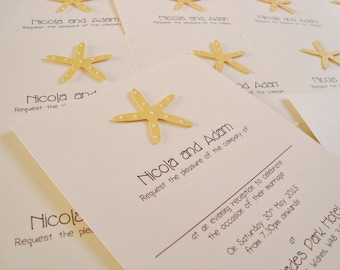 Personalised Handmade Beach Starfish Wedding Invitation Sample