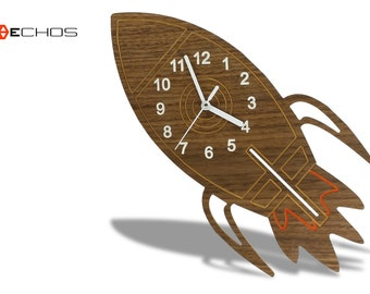 Modern Wood Spaceship Kids Wall Clock