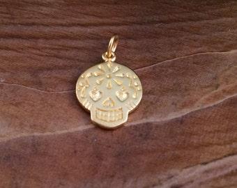Sugar Skull Pendant, Sugar Skull Charm, Large Sugar Skull Charm, Gold Sugar Skull Charm, Gold Charm, Mexican Sugar Skull, PG0163