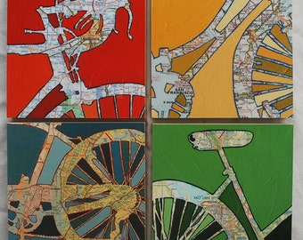 Bicycle art collection Four 8x8 Mounted bike map prints, bike gift, bicycle gift, bike art, bicycle art,   Holiday and Christmas Special -