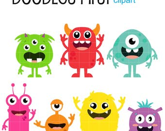 Cute Monsters Clip Art for Scrapbooking Card Making Cupcake Toppers Paper Crafts
