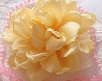 Larger Handmade Singed Flower  (3.5 inches) In Yellow My-311-03 Ready To Ship