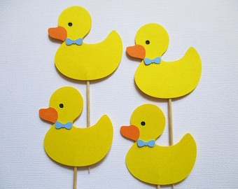 12 Boy Duck Cupcake Toppers, Rubber Duck,Duck Birthday, Ducky Baby Shower, Ducky Cupcake Topper Yellow