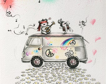 Don't worry be hippy - Print - Nursery art - Nursery decor - Kids room decor - Children's art - Children's wall art - kids wall art
