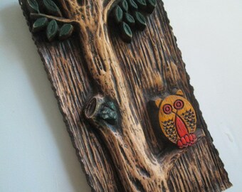 Owl wall hanging kitschy owl plaque cabin cottage owl art mod room decor kid' room wall hanging Holiday Gift