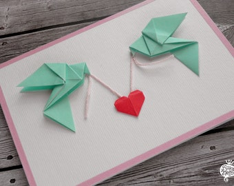 Love card - Valentine's Day - Origami dove in love