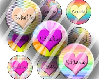 "Editable Bottle Cap Collage Sheet - Pastel Hearts (111) - 1"" Digital Bottle Cap Images"