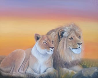 Wall hanging,canvas painting,Africa art,Home decor,Wall decor painting,lion painting,African wall hanging,Animal painting,Living room decor