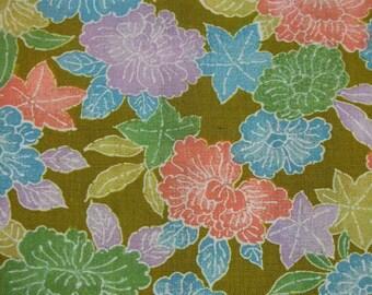 172: Vintage woman's kimono/casual/wool fabric/peony/maple/flower/khaki/colorful/pastel/material/handmade