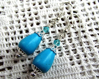 Chalk Turquoise Teardrop Dangle Earrings in Choice of Silver or Gold Plated Findings