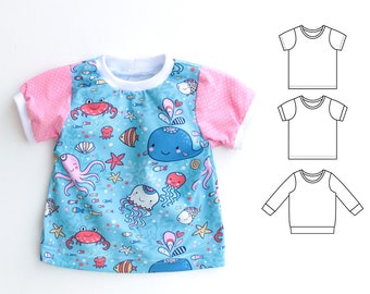 JELLY Girl Boy T Shirt sewing pattern Pdf, Short and Long Sleeves, Girl Boy Jersey Knit JELLY T-shirt 0 - 10 years,  Instant Download