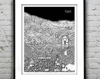 Ojai California Skyline Poster Art Print CA Version 2