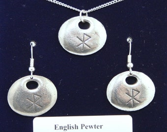 Viking Love Rune Necklace and Earrings Set in Fine English Pewter, Handmade, Gift Boxed