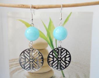 chevron turquoise jade bead earrings