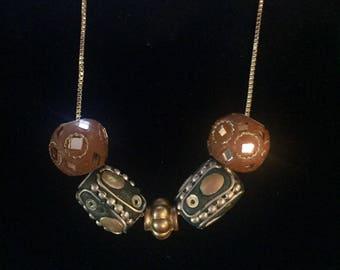 Orange, Gold, Green Aztec Style Necklace