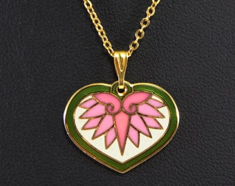 "Laurel Burch Enamel HeartPendant Necklace Signed ""HollyHock"" Mod Art Pink Flower Gold Tone Heart Green Enamel Accents 1990s  Pop ART Jewelry"