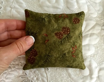 Balsam Pillow with Organic Balsam Fir - Pinecone Fabric - Rustic -  Eco friendly- Aromatherapy - spa - Made to order