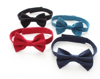 Baby Boys Bow Tie,  Bowties, Boys Bow Tie, Plain Black, Red, Navy, Green, solid Bowtie