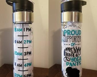 Messy Hair & Yoga Pants Water Tracking Bottle, Yoga, Messy Hair, 24 oz, Water Bottle, Water Tracking, Cramers Crafts, Flip Straw, Straw