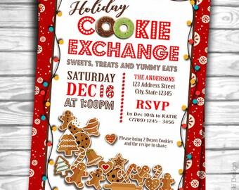 Cookie Exchange Invitation, Cookie Swap Invitation, Christmas Cookie Exchange Party, Holiday Invitation, Christmas Invitation C9
