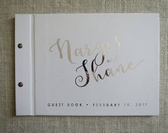 Narges Silver Foil + White | Custom Made Wedding Guestbook | Personalised Guestbook |  Weddings | Engagements | Birthdays | Australia Seller