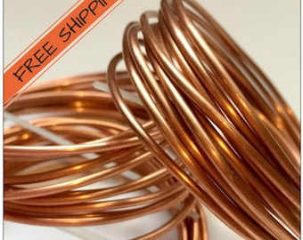 Copper Wire, 14, 12, 10, 8, 6 or 4 Gauge, Medium Soft Copper Wire, Solid Copper Wire, Solid Raw Metal, Sold in 5-6 Foot Length, Craft Wire