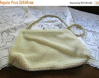 SPRING SALE - Corde Beaded Clutch, Cream Colored, Made in USA, 1960s Purse, Handbag, Pocket Book Evening Bag