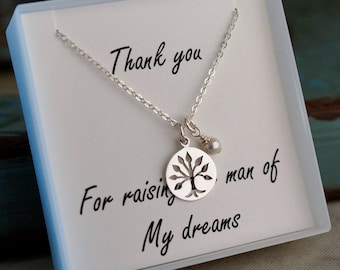 Mother of the groom necklace / Sterling Silver or Gold Filled Necklace with family tree /  Thank you for raising the man of my dreams