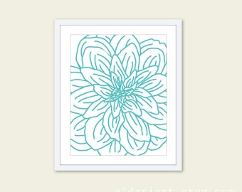 Modern Flower Digital Print - Aqua Blue Turquoise and White  - Flower Wall Art  - Spring Decor - Under 20