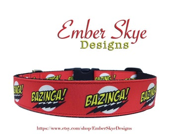 "Bazinga Adjustable Dog Collar 1"" Wide"
