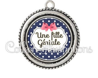 Pendant cabochons 25mm a great girl - series 8