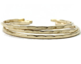 3 Medium Textured Cuffs in silver, yellow, or rose gold fill - Ophelia Cuff Collection