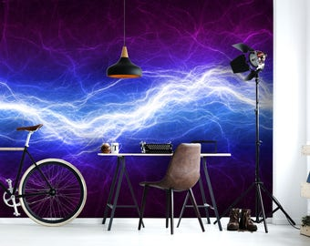 Removable Wallpaper Mural Peel & Stick Self Adhesive Wallpaper 3D Blue and Purple Electric Lighting