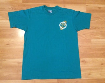 Large 80's National Wildlife Federation Teen Adventure men's vintage T shirt Go Take A Hike 1980's Hanes Fifty Fifty green