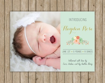 Custom birth announcement- digital file 5x7- mint, gold, flowers