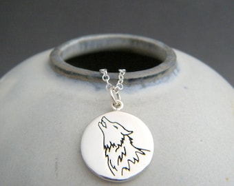 """sterling silver wolf necklace. spirit animal charm. power animal pendant. good luck totem talisman jewelry. nature soul meditation gift 5/8"""""""
