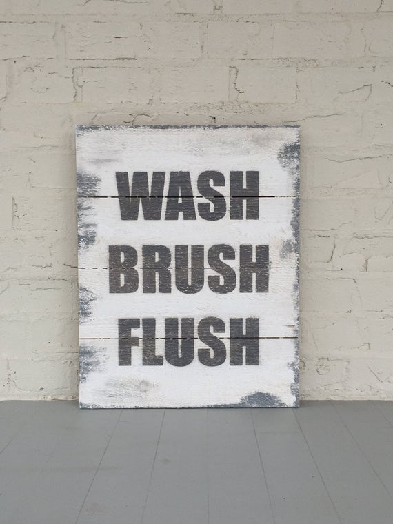 Wash Brush Flush Large Wood Sign | Bathroom Rules