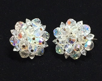 Vintage Signed Laguna Clear Aurora Borealis Bead Earrings