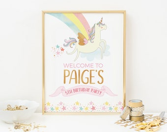 Unicorn party sign, PRINTABLE Personalised unicorn welcome sign, Unicorn birthday decorations, Unicorn party decorations, party printables
