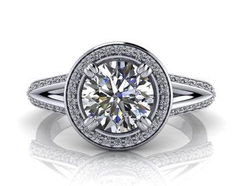 Split Shank Engagement Ring Diamond Halo - Ivy