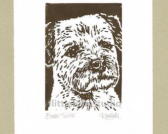 Border Terrier Dog - Linocut Original hand pulled Relief Print