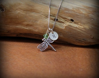 Sterling silver  dragonfly necklace, Dragonfly jewelry