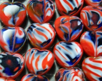4 glass heart beads red/blue Murano 8x16x16mm style