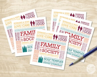 "Digital File - Family Proclamation to the World, LDS art, HANDOUT, ""Bright & Beautiful"" color theme, instant download"