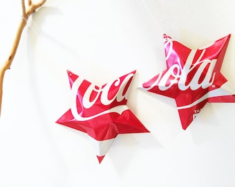 Coke Stars Christmas Ornaments  Soda Can Upcycled Coca Cola