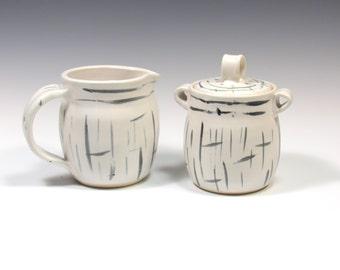 Sugar and Creamer Set - Teatime Serving Set - Pottery Creamer Set - Sugar Bowl - Ceramic Creamer - Cream and Sugar - Black White Tableware