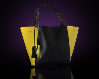 Women's shopping bag, a package of genuine leather yellow black.